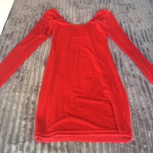 Velvet red mini dress